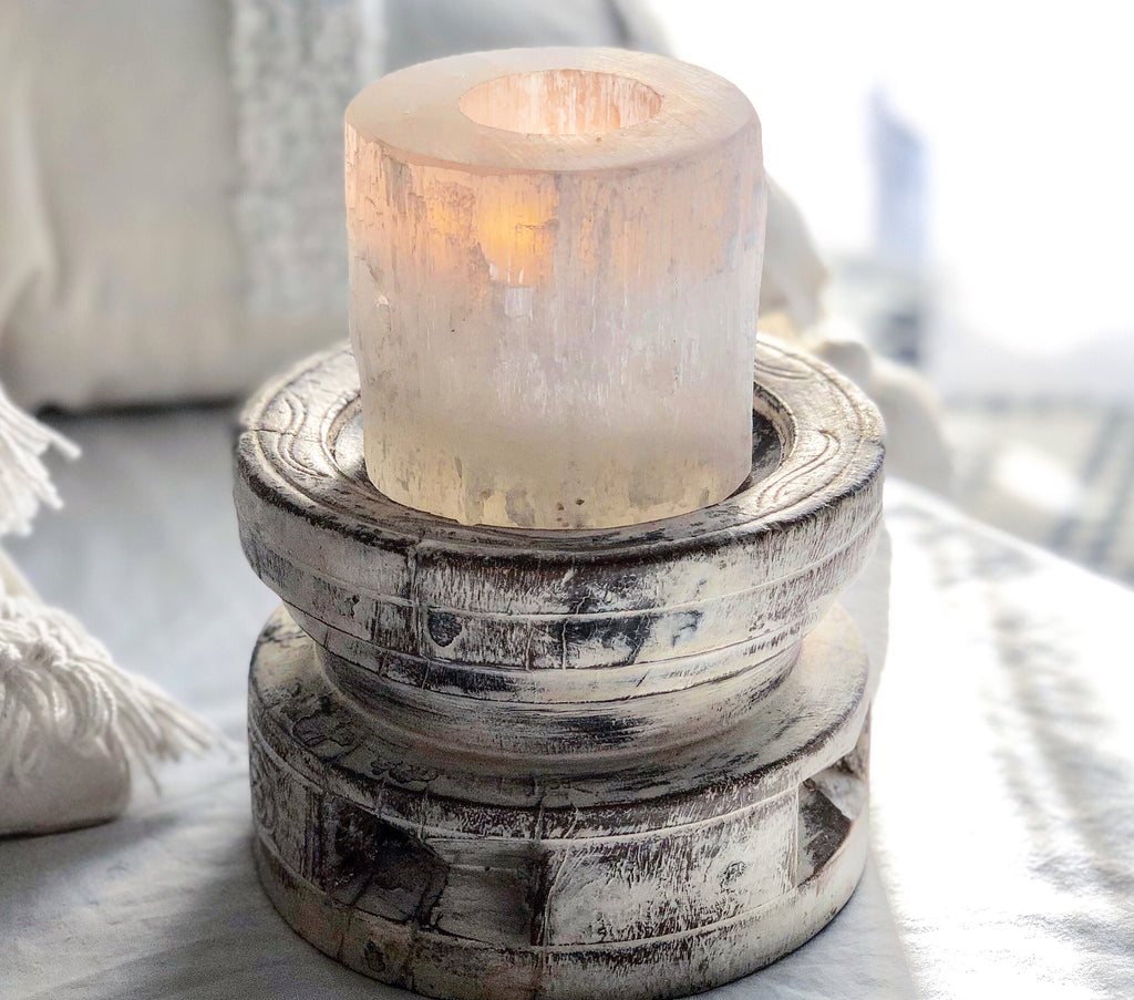 Selenite Crystal Tea Light Holders