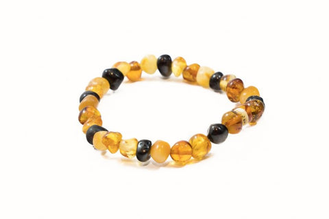 Adult Amber Bracelet - Elastic - Lemon and Rose Quartz