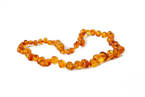 Childrens Amber Teething Necklace - Cognac Baroque
