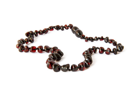 Childrens Amber Teething Necklace - Cherry Baroque