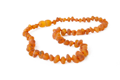 Childrens Amber Necklace - Raw Cognac Baroque
