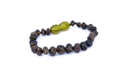 Childrens Amber Bracelet - Green Baroque