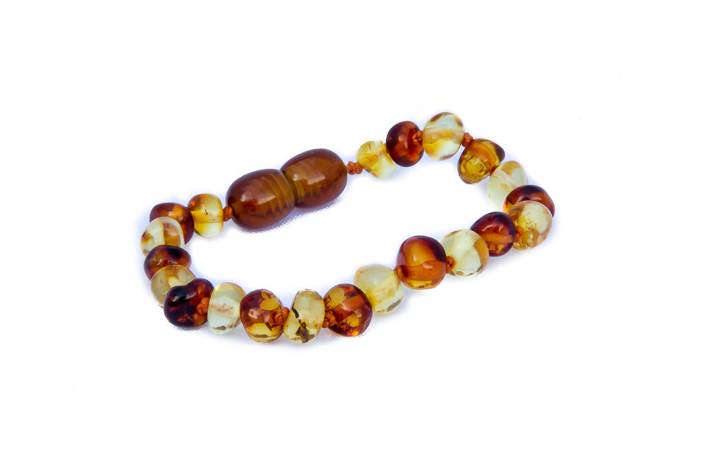 Amber teething bracelet lemon and cognac