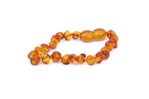 Childrens Amber Bracelet - Light Green Baroque
