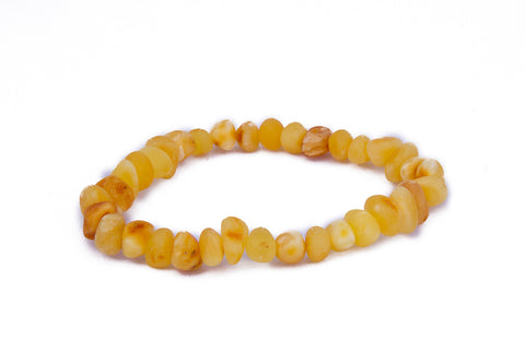 Adult Amber Bracelet - Elastic - Raw Butter Baroque