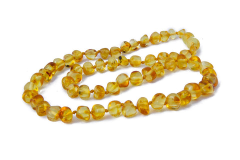 Adult Amber Necklace - Lemon Baroque