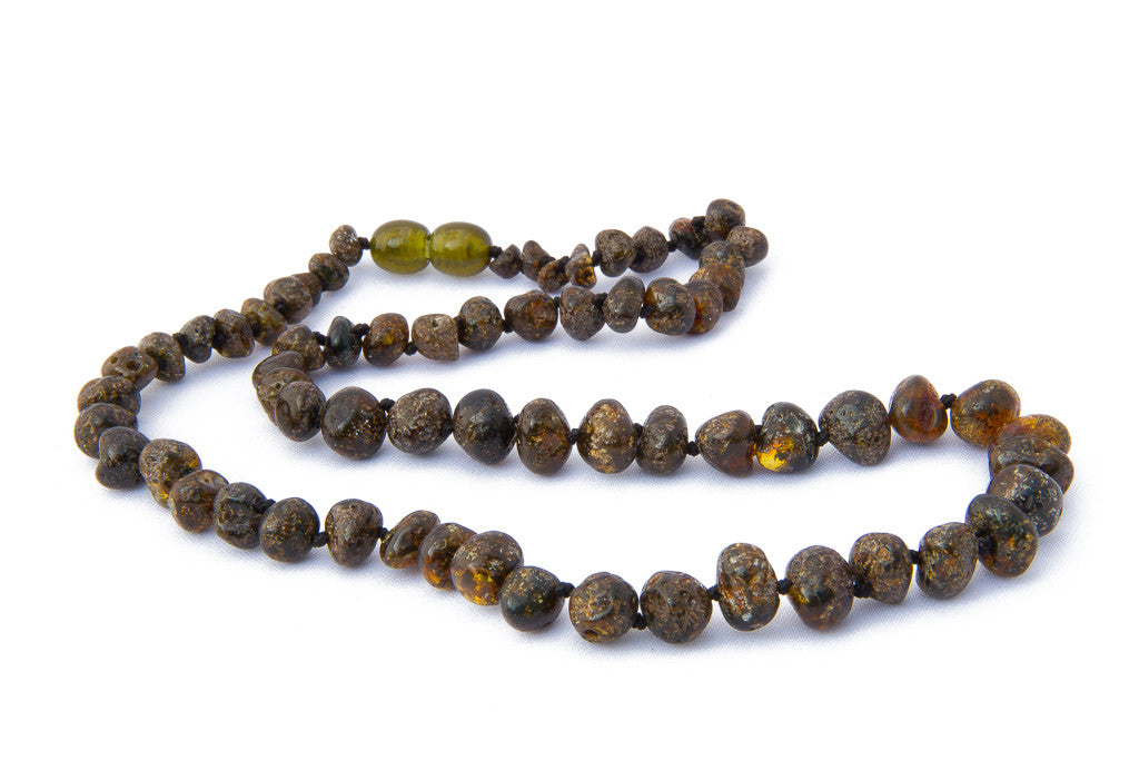Adult amber teething necklace Green