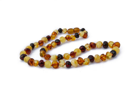Adult Amber Necklace - Multicoloured Baroque