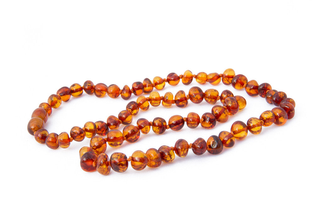Adult Baltic Amber teething necklace Cognac