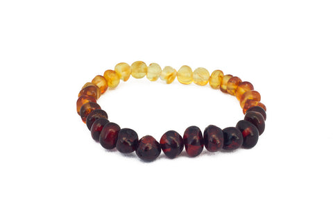 Adult Amber Bracelet - Elastic - Raw Lemon Baroque