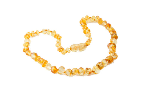 Childrens Amber Teething Necklace - Lemon Baroque