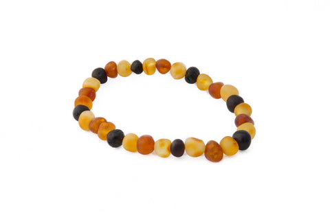 Adult Amber Bracelet - Elastic - Raw Multicolour Baroque