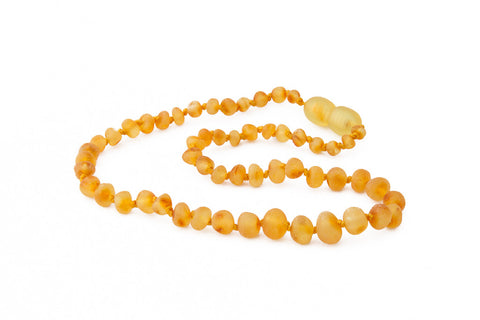 Childrens Amber Teething Necklace - Raw Lemon Baroque
