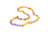 Childrens amber necklace - cognac and amethyst