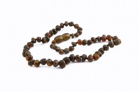 Childrens Amber Teething Necklace - Dark Green Baroque