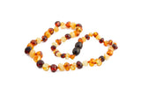 Childrens Amber Teething Necklace - Multicoloured Baroque