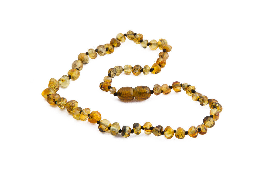light green amber teething necklace