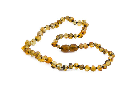 Childrens Amber Necklace - Light Green Baroque
