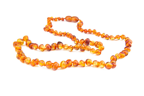 Adult Amber Necklace - Cognac Baroque
