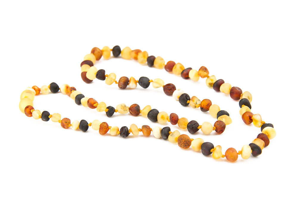 Adult Amber Necklace - Raw Multicolour Baroque