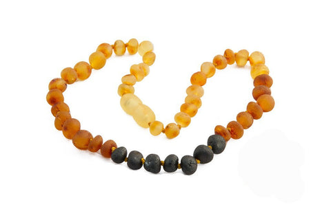 Childrens Amber Teething Necklace - Raw Rainbow Baroque