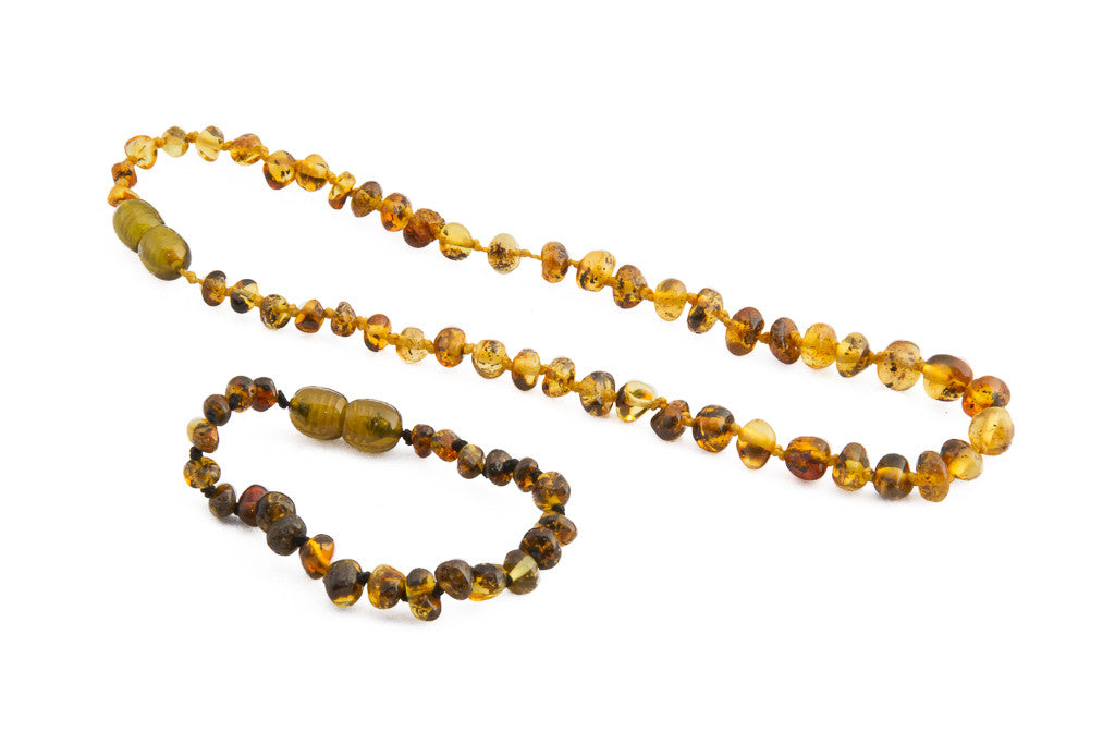 light green - Amber jewellery set