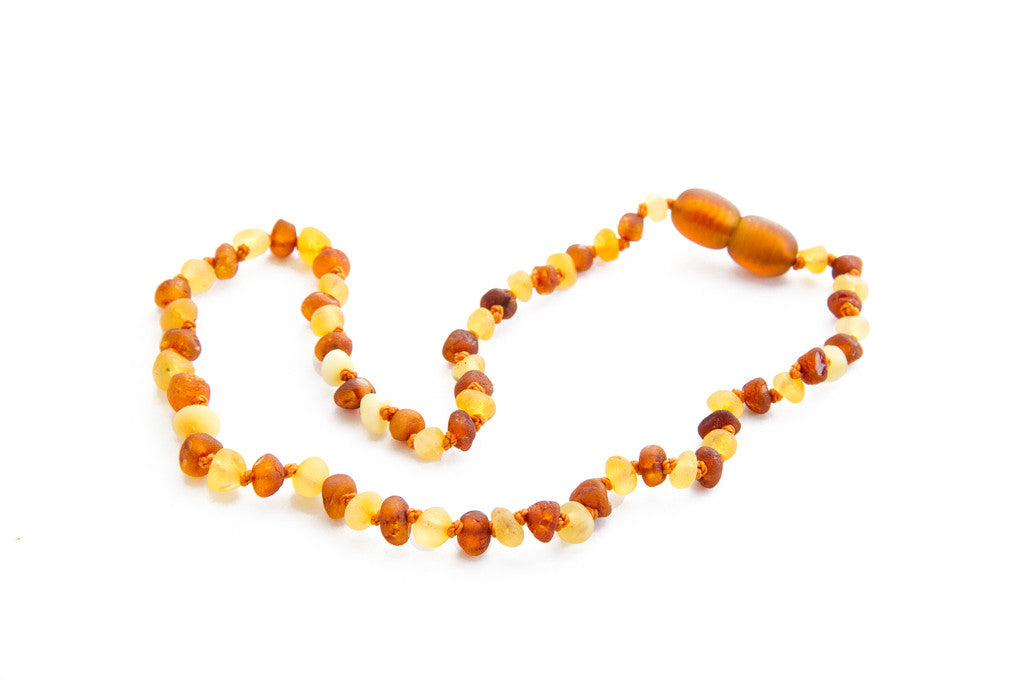 Raw coganac and lemon Amber teething necklace