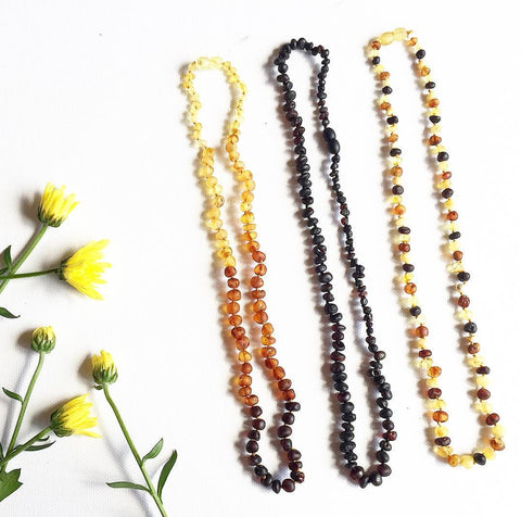 Adult Amber Necklace - Raw Rainbow Baroque