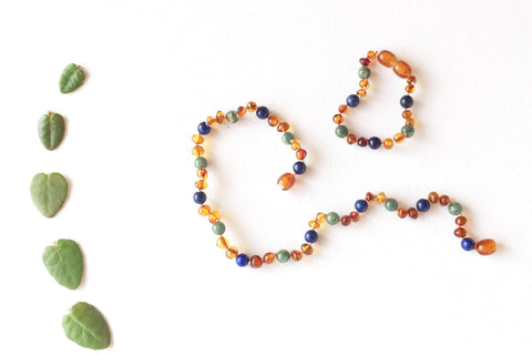 Childrens Amber Teething Necklace - MOTHER OF PEARL