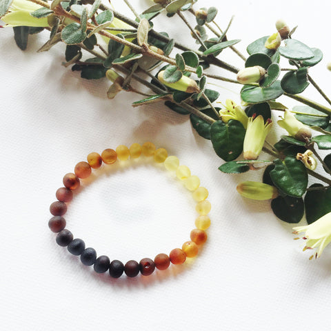 Adult Amber bracelet - Elastic - Raw Rainbow Baroque