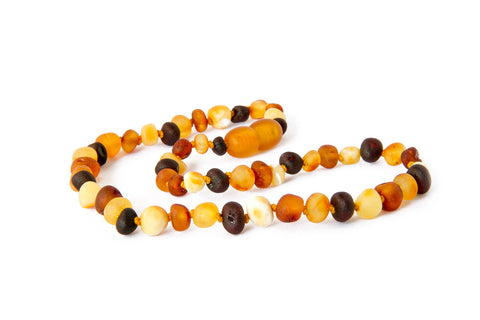 Childrens Amber Teething Necklace - Raw Multicoloured Baroque