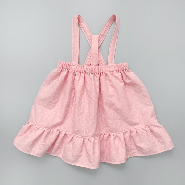 SHIRLEY l Ruffle High-Waisted Suspender Skirt I Cotton Candy Pink