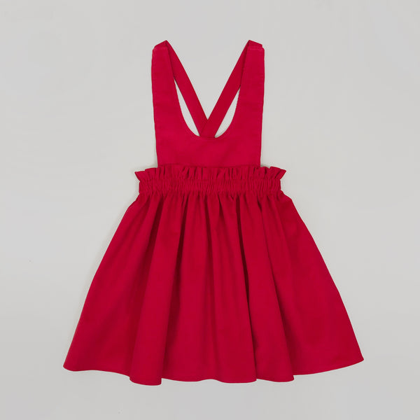 POPPY l Pinafore Dress I Red Corduroy
