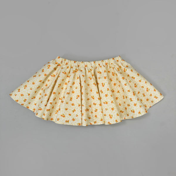 PENNY l Twirl Skirt I Yellow and Coral Floral