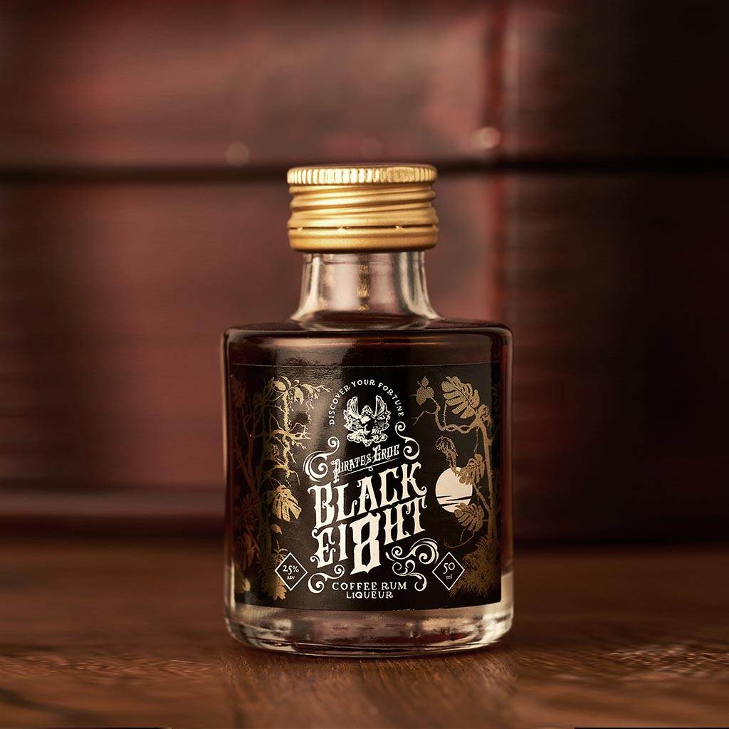 Pirate's Grog Black Ei8ht Coffee Rum Miniatures<br>(Case of 12) - Pirate's Grog Rum