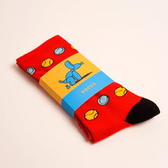 Red Tennis Print Socks
