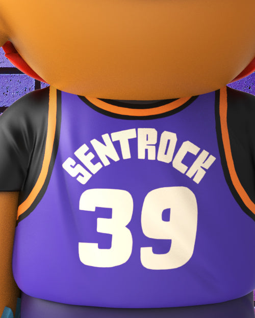 All decked out in a purple sports outfit inspired by a sports team in Phoenix