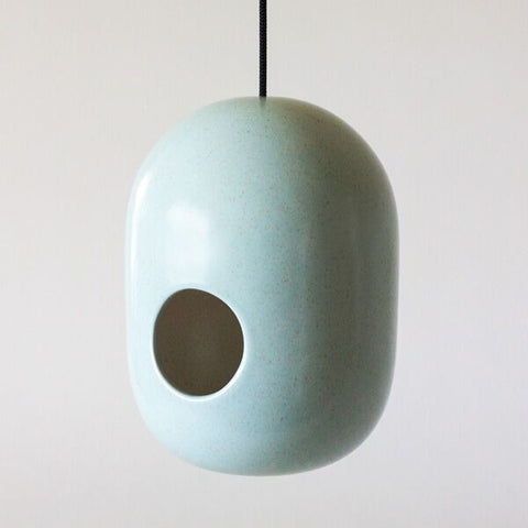 gidon bing ceramic bird house | speckled blue
