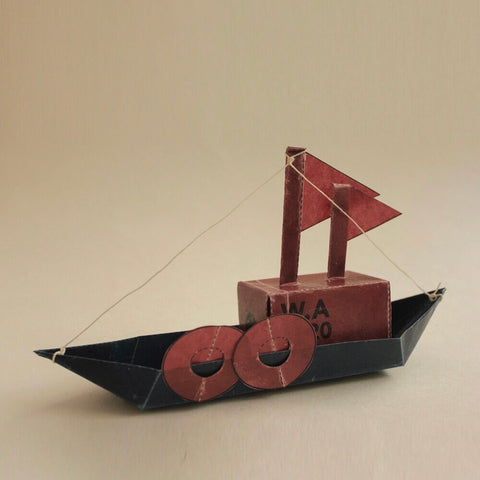 origami waxed paper cargo boat kit