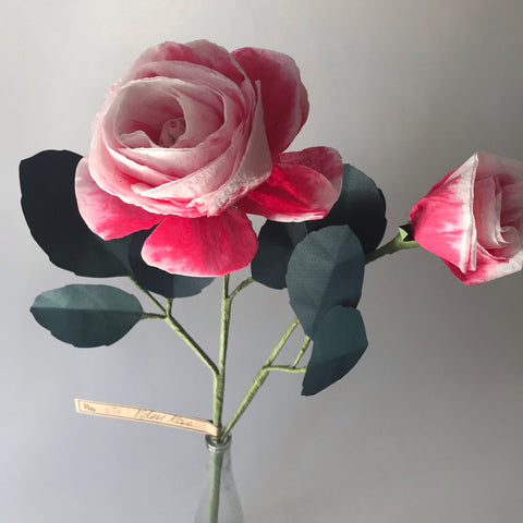 the green vase | raspberry ripple eden rose paper flower stem