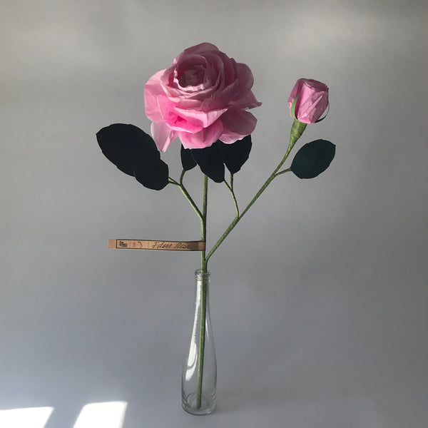 the green vase | pink eden rose paper flower stem