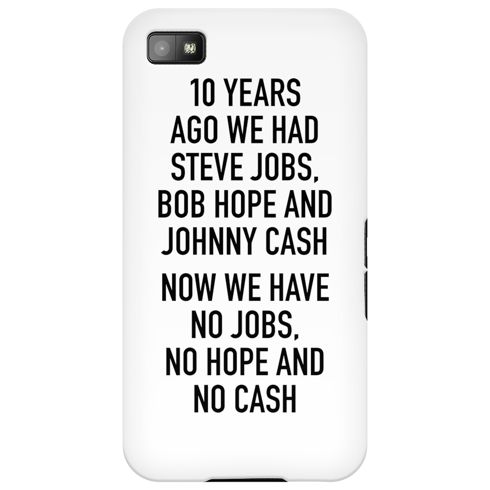 10 years ago we had steve jobs, bob hope and johnny cash (portrait, black) Phone Case