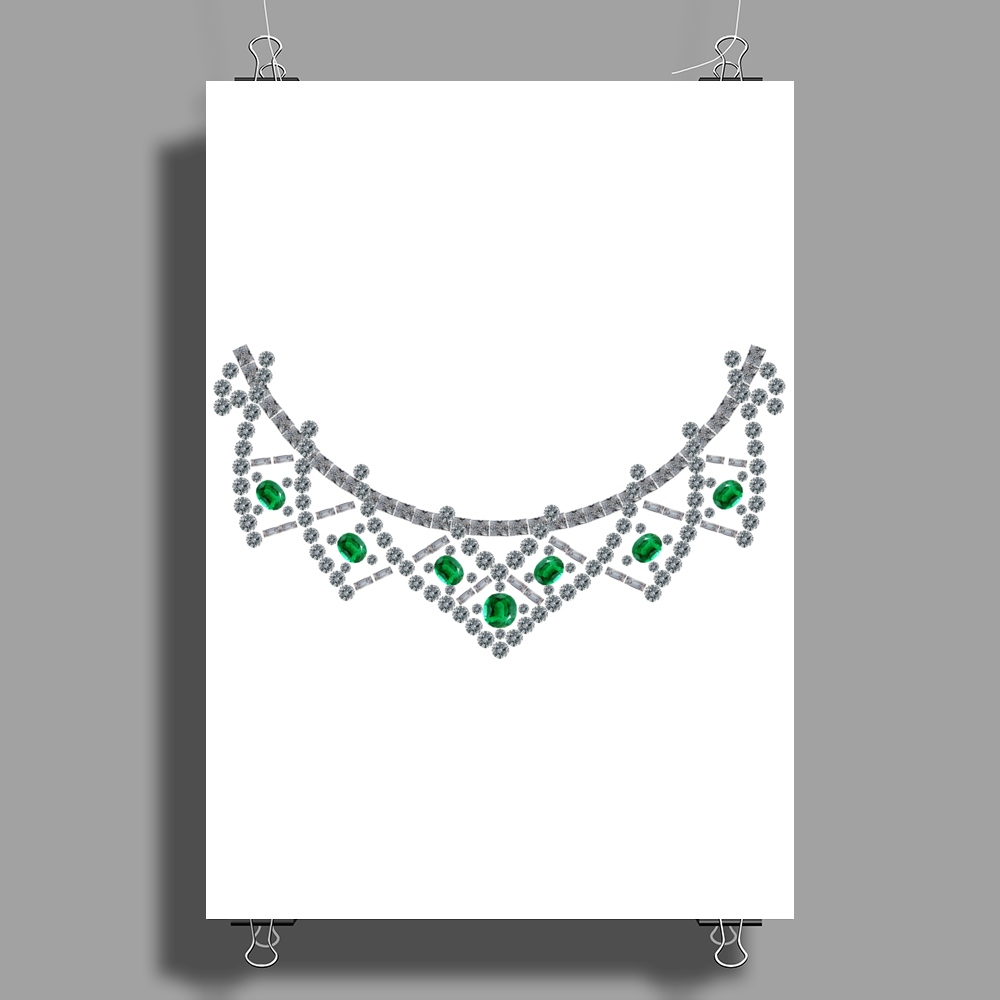 1950s emerald and diamond necklace Poster Print (Portrait)