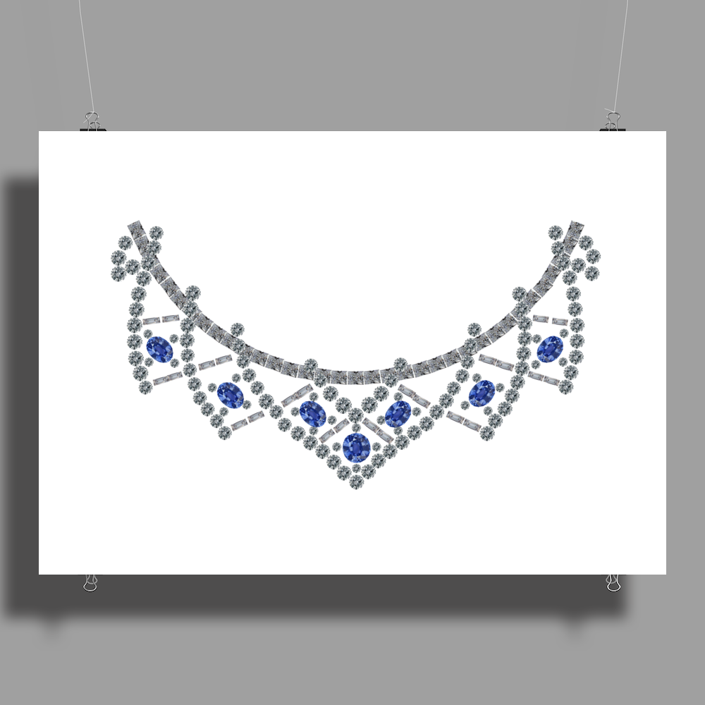 1950s Sapphire and Diamond Necklace Poster Print (Landscape)