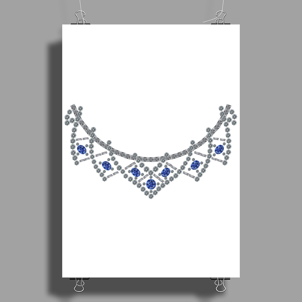 1950s Sapphire and Diamond Necklace Poster Print (Portrait)
