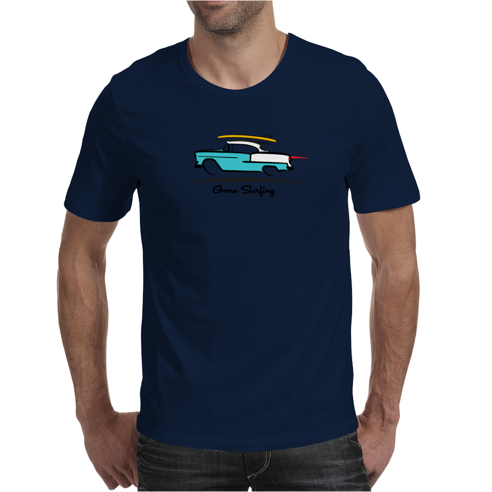 1955 Chevy Hardtop Coupe Gone Surfing Mens T-Shirt