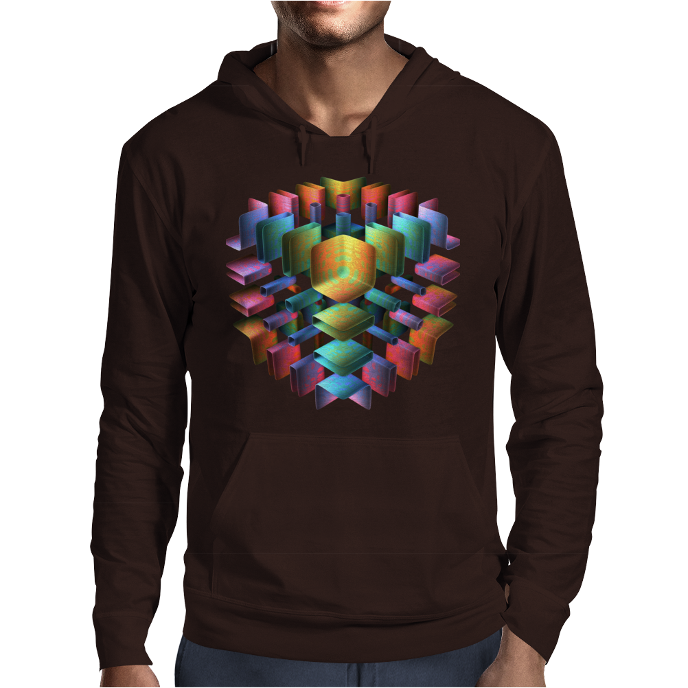 3-D Cube with Colorful Elements Mens Hoodie