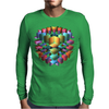3-D Cube with Colorful Elements Mens Long Sleeve T-Shirt