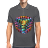3-D Cube with Colorful Elements Mens Polo