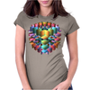 3-D Cube with Colorful Elements Womens Fitted T-Shirt